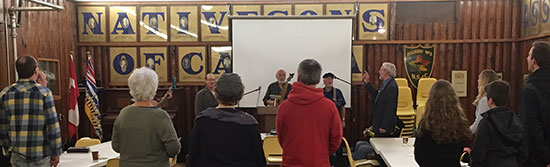 Members and concerned citizens singing O Canada at CHP presentation in Courtenay
